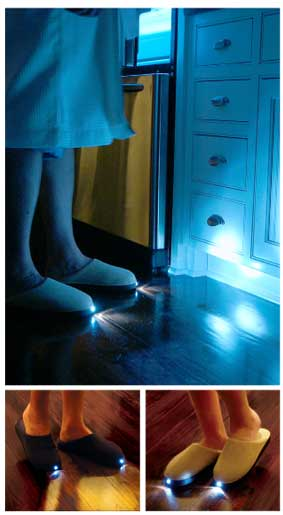 Bright feet slippers with a built in flashlight